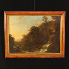 Italian Landscape Painting with Waterfall and Figures