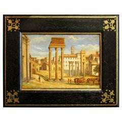 Italian Late 19th Century Oil on Board Classical Roman Ruins Landscape Painting