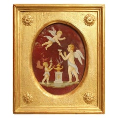 Italian Neoclassical Style Oil Painting on Oval Glass with Putti iGiltwood Frame