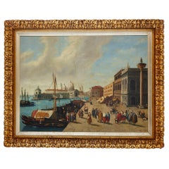Italian oil painting of Venice in giltwood frame