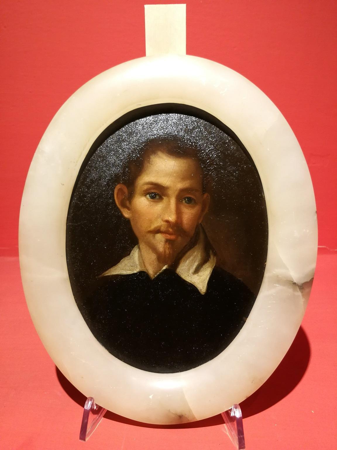 Italian Domenichini Portrait Painting 19 century oil cardboard onyx