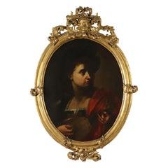 Italian Painting Lute Player 17th Century
