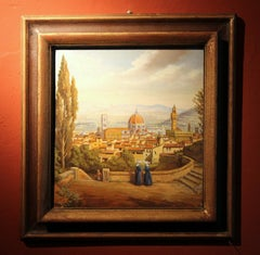 Italian Realist Style Oil on Wood Panel Painting Landscape View of Florence