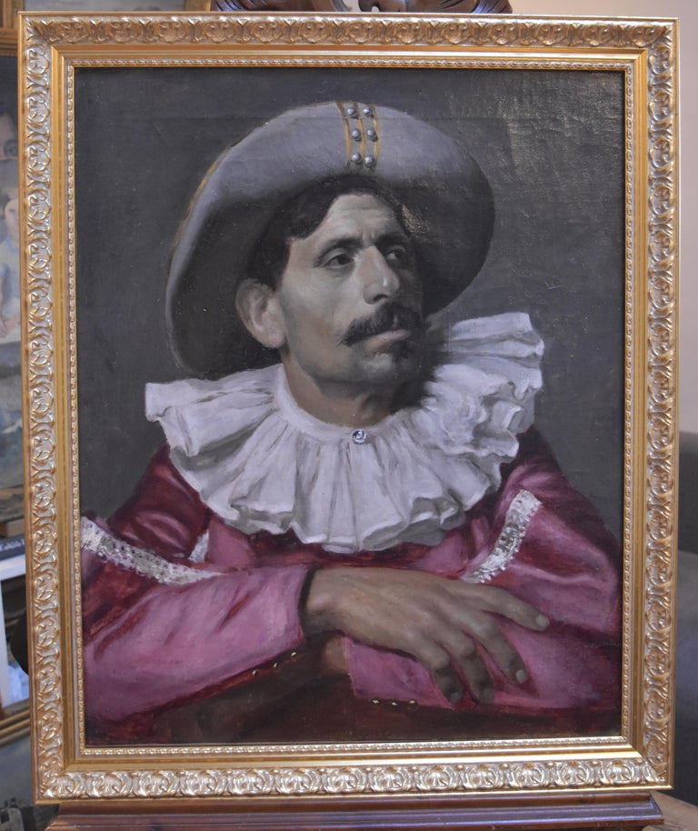Italian School, Portrait of an actor dressed for the Commedia dell'arte, oil - Painting by Unknown