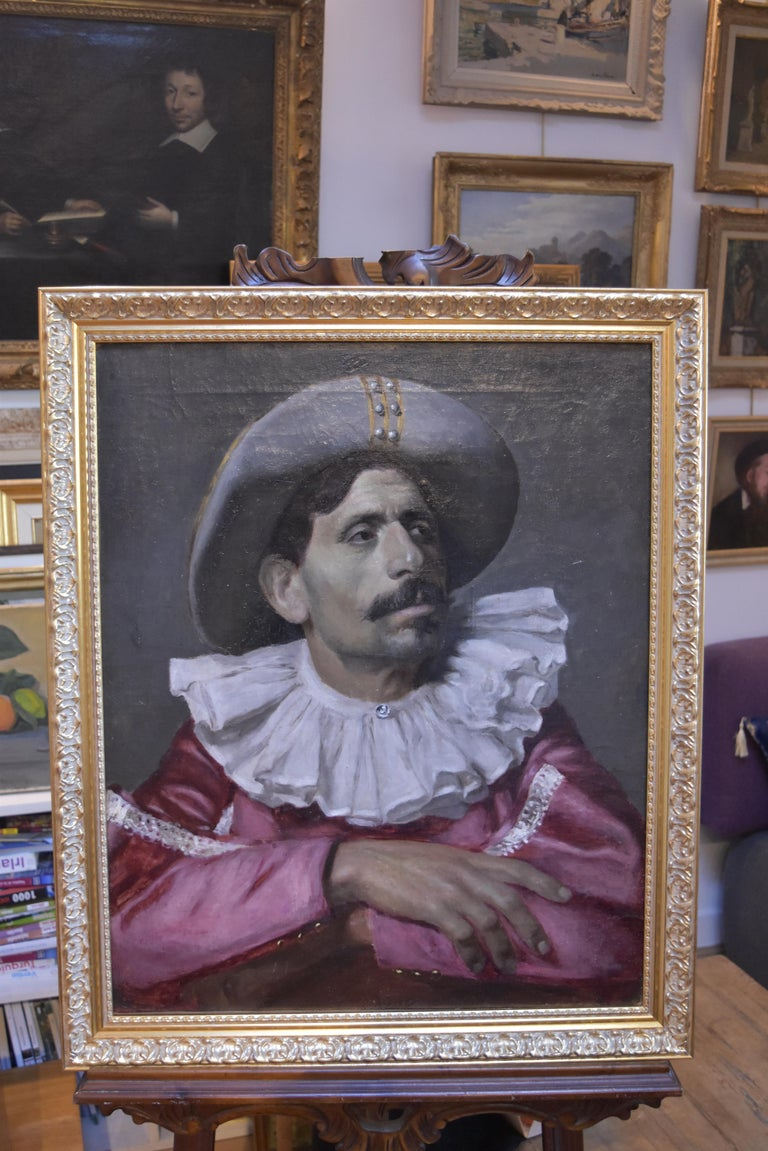 Italian School, Portrait of an actor dressed for the Commedia dell'arte, oil For Sale 1