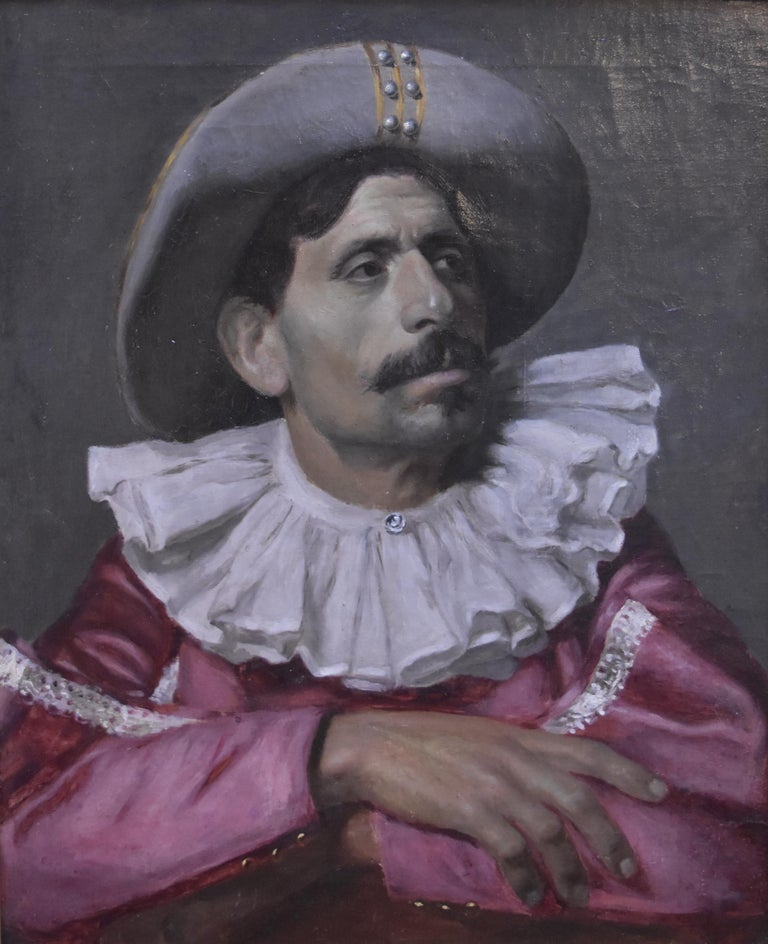 Unknown Portrait Painting - Italian School, Portrait of an actor dressed for the Commedia dell'arte, oil