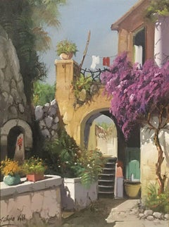ITALIAN VINTAGE OIL PAINTING - VIEW OF AN OLD TOWN WISTERIA & FLOWERS ARCHWAY