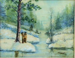 Italian  Winter Landscape Painting