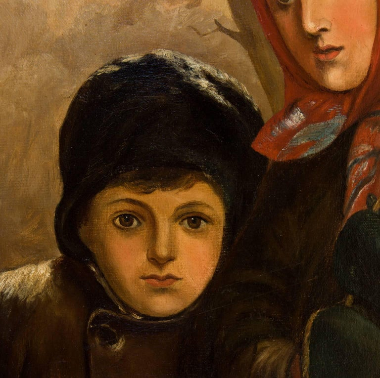 J. B. Crosbie - Signed 1896 Oil, Victorian Children in Winter Landscape - Brown Figurative Painting by Unknown
