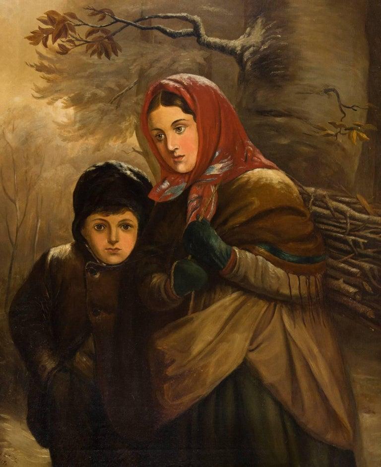 J. B. Crosbie - Signed 1896 Oil, Victorian Children in Winter Landscape For Sale 1