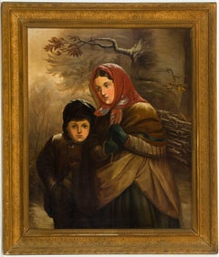 J. B. Crosbie - Signed 1896 Oil, Victorian Children in Winter Landscape