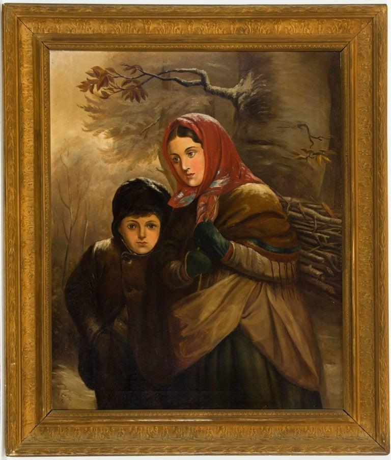Unknown Figurative Painting - J. B. Crosbie - Signed 1896 Oil, Victorian Children in Winter Landscape