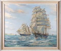J. Bishop - Framed 20th Century Oil, Ships at Sea