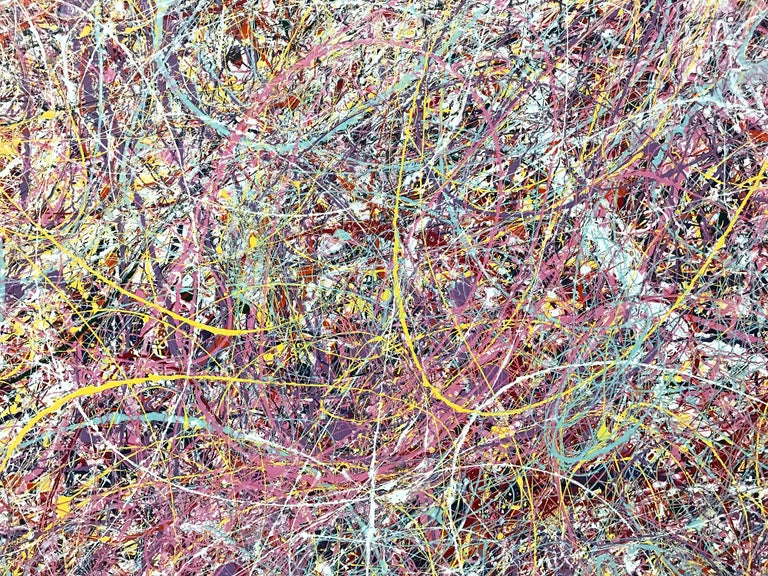 Jackson Pollock Style Abstract Expressionist Colorful Painting - Gray Abstract Painting by Unknown