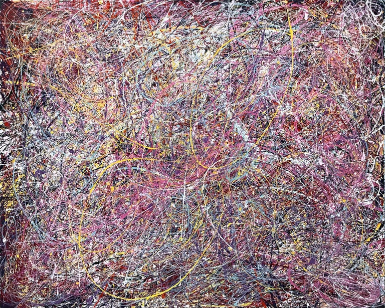 Unknown Abstract Painting - Jackson Pollock Style Abstract Expressionist Colorful Painting