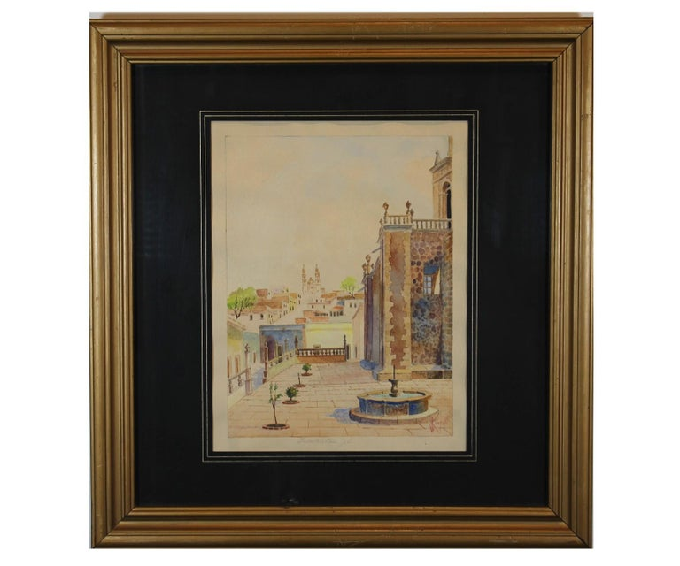"""Unknown Landscape Painting - """"Jalostotitlan"""" Plaza View in Jalisco, Mexico"""