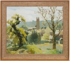Jane Storey - Signed & Framed 1972 Oil, Village Landscape Scene