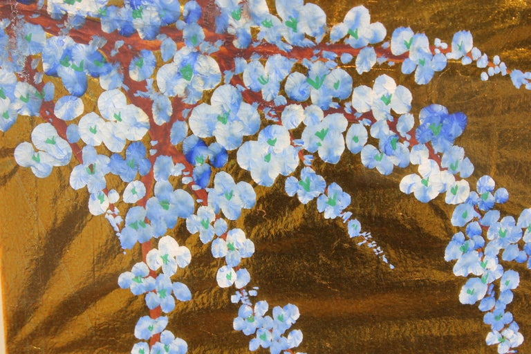 Japanese Blue Blossoms on Gold Leaf - Painting by Unknown