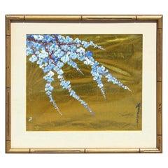 Japanese Blue Blossoms on Gold Leaf