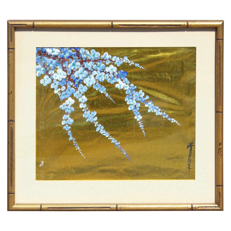 Unknown Figurative Painting - Japanese Blue Blossoms on Gold Leaf