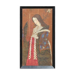 Japanese Geisha or Miko in Kimono with Fan Painting on Silk