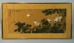 Japanese Landscape and Animals Gouache Painting # Two