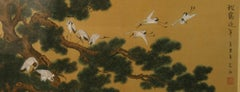 Japanese Landscape and Cranes Painting on Silk #One