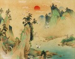 Japanese Landscape on Silk Village Sunset