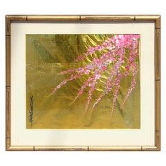Japanese Pink Blossoms on Gold Leaf