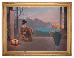 Japanese Sunset with Geisha - Oil Painting by an Unknown Painter of 20th Century