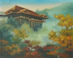 Japanese Tea House in the Mist - Landscape