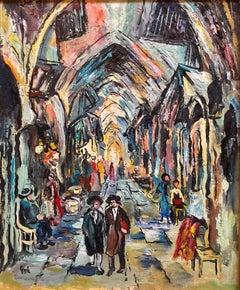 Jerusalem Old City Market Scene Shuk Modernist Oil Painting