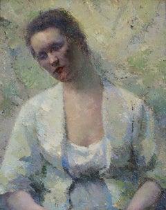 Jeune Femme - Impressionist Oil, Eastern European Portrait of a Young Woman