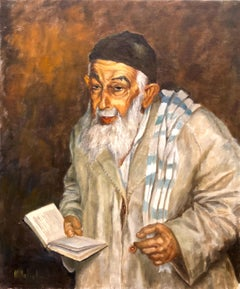 Jewish Sephardic Sage Rabbi or Chacham in Traditional Dress Judaica Oil Painting