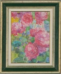 John Ivor Stewart PPPS (1936-2018) - Signed Oil, Roses From a French Garden