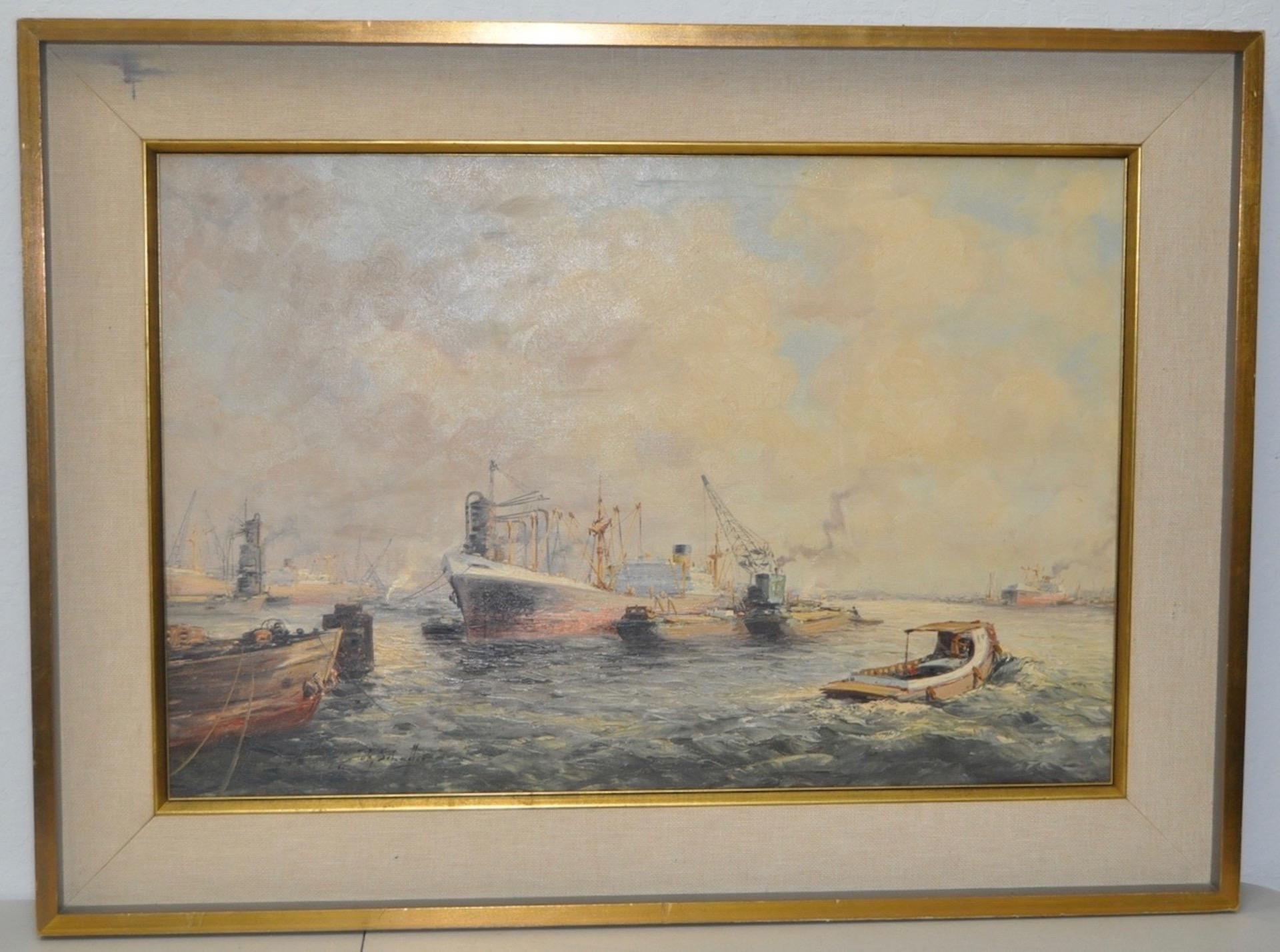 """John Schaeffer """"Ships in Port"""" Original Oil Painting c.1930s"""