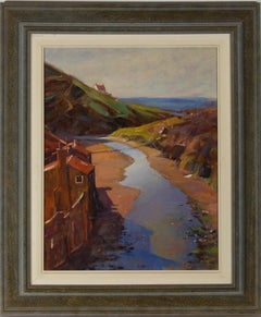 J.R. Clark - Framed Contemporary Oil, River Estuary with Fisherman's Cottage