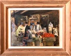 Judaica Market Scene, Shuk, European Hasidic Rabbi Oil Painting