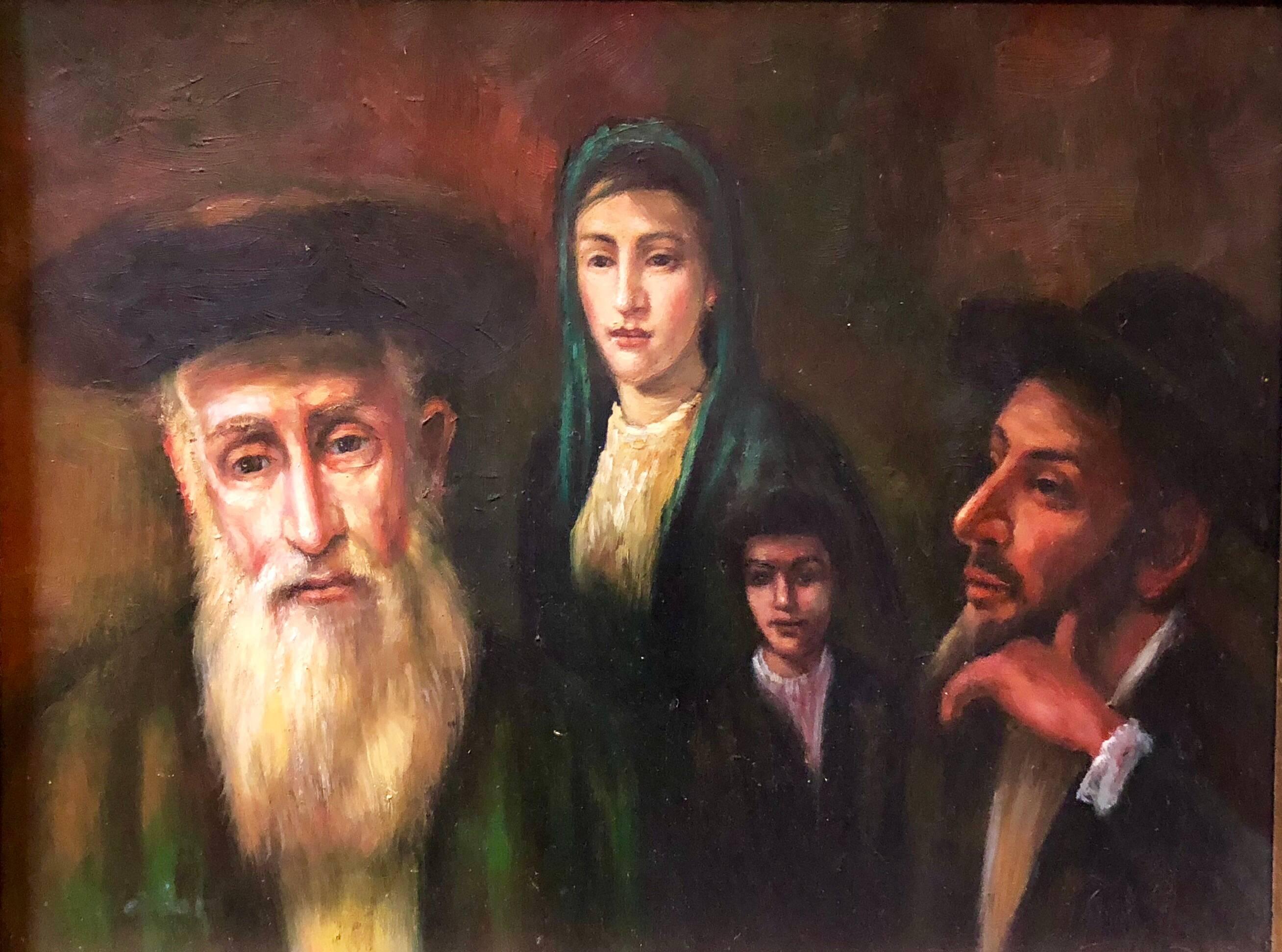 Judaica Miniature Oil Painting Jewish Family Scene