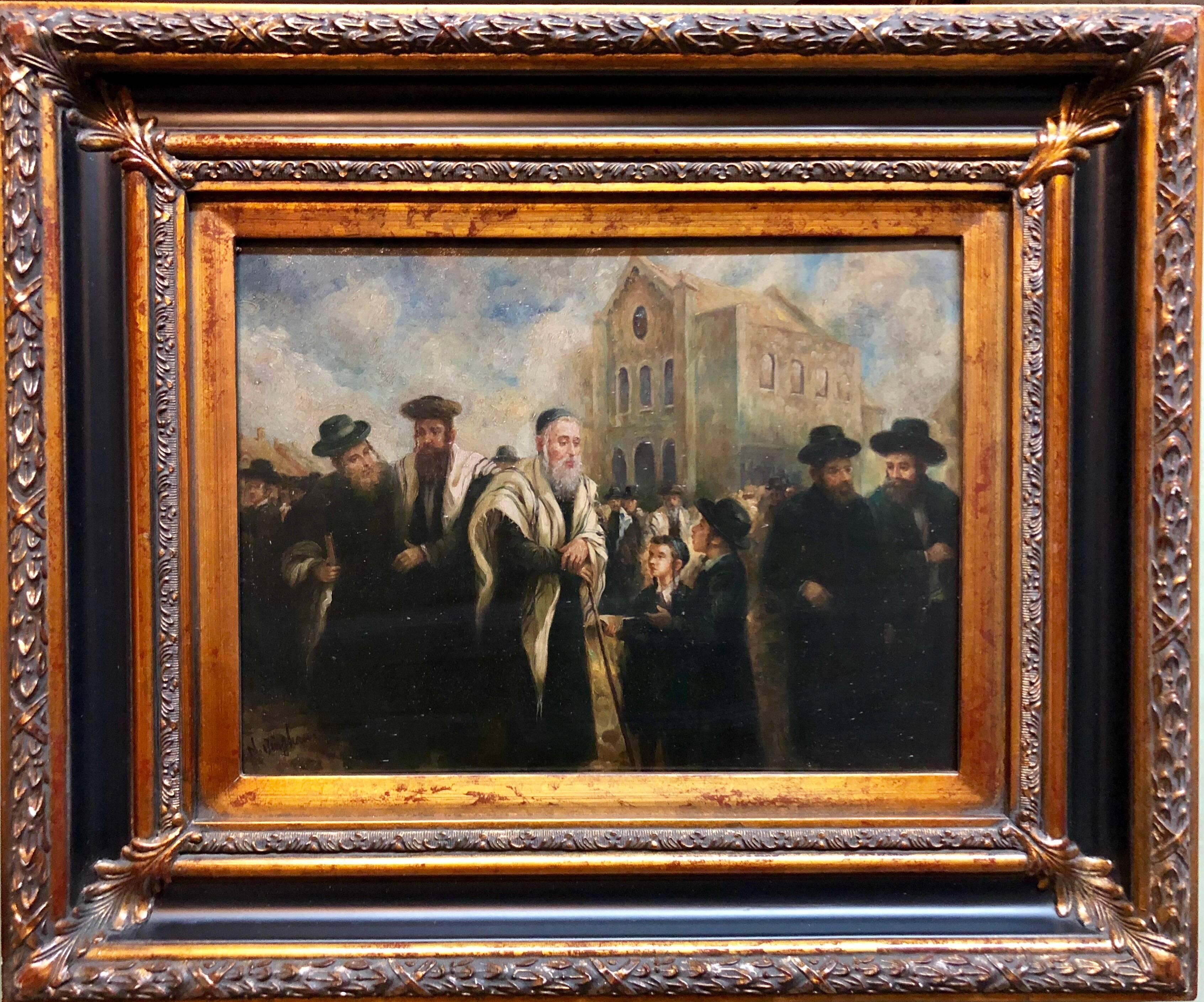 "Judaica ""The Rebbe's Visit"" European Hasidic Rabbi Oil Painting"