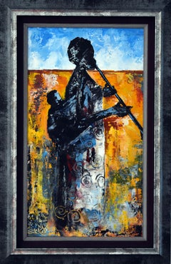 K BAKA  MAMA'S MELODY  AFRICAN EXPRESSIONIST  2017 ACRYLIC ON CANVAS PAINTING