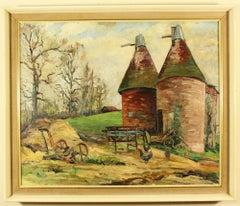 Kentish Farm scene with Oast Houses