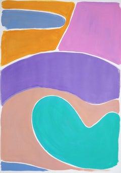 Kidney Pool Landscape in Pastel Tones, Naïf Shapes Painting in Vivid Tones, 2021