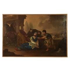 King Darius' Death Oil on Canvas Late 1800s Italian Painting