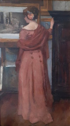 Lady at the artist's studio: large Art Nouveau 1900s French oil painting