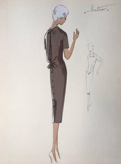 Lady in Elegant 1950's Dress Parisian Fashion Illustration Sketch
