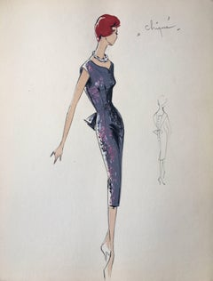 Lady in Elegant 1950's Floral Dress Parisian Fashion Illustration Sketch