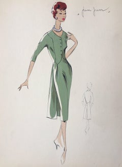 Lady in Elegant 1950's Green Dress Parisian Fashion Illustration Sketch