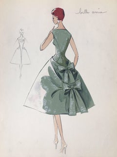 Lady in Green Cocktail Dress 1950's Parisian Fashion Illustration Sketch