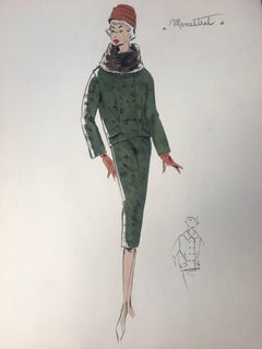Lady in Green Two Piece Set 1950's Parisian Fashion Illustration Sketch